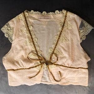 Adorable & Dainty Gold Lace Bolero Shrug